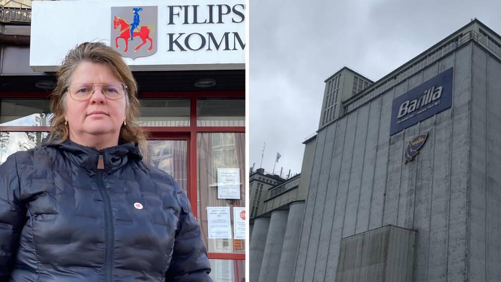 Åsa Hååkman Felth (S) kommunalråd i Filipstad och en bild på Barillas fabrik