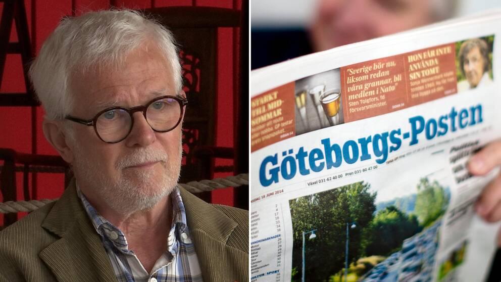 Man med glasögon och kavaj bredvid en bild på tidningen GP.