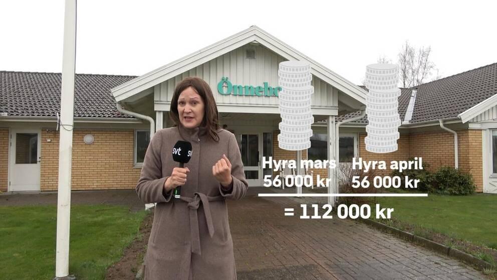 Reporter med grafik över hyreskostnaden för Önnebo.