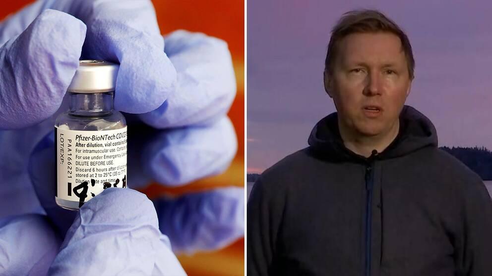 Vaccindos från Pfizer/Biontech samt barnläkaren Petter Brodin under sin medverkan i Aktuellt.