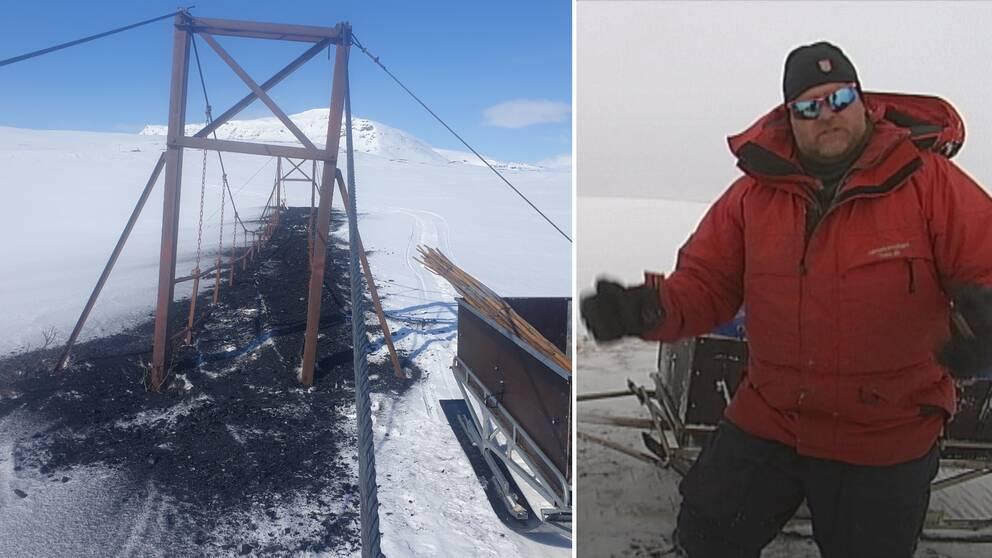 En tvådelad bild där den ena visar en bro i vinterlandskap, täckt av kol. Den andra bilden visar en man i röd täckjacka och solglasögon.