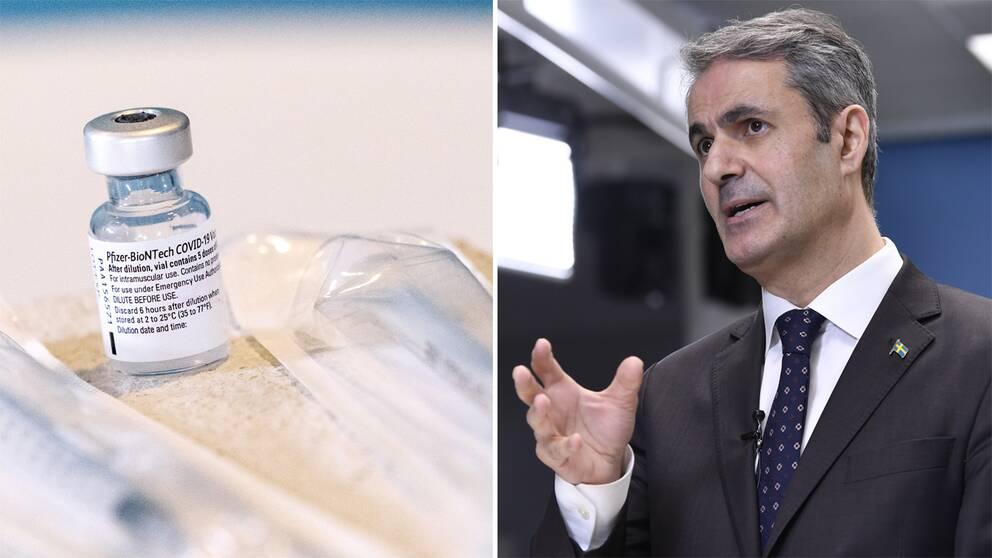 Till vänster en flaska med vaccin mot corona och till höger Näringsminister Ibrahim Baylan (S).