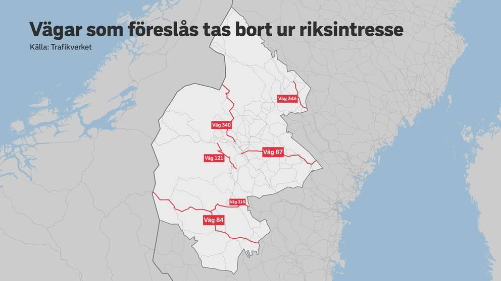 Karta över Jämtlands län. Sex vägsträckor är rödmarkerade. Dessa vägsträckor föreslås att tas bort från riksintresset för vägar.