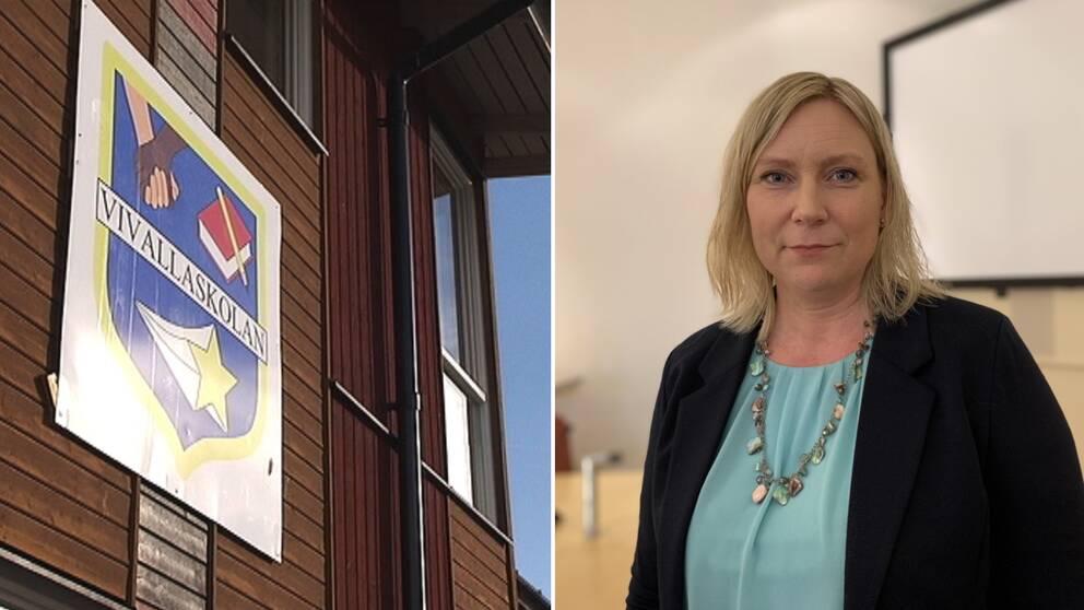 Montage av två bilder. Till vänster en skylt med texten Vivallaskolan. Till höger en bild på Marlene Jörhag, kommunalråd i Örebro.