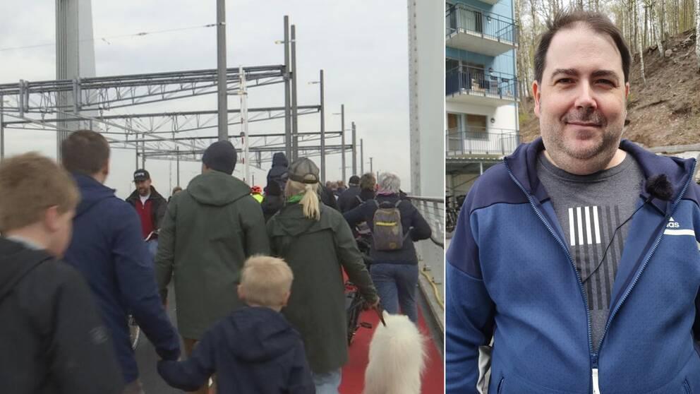 En folkmassa som tar sig över bron till vänster. Till höger Paul Spartalis.