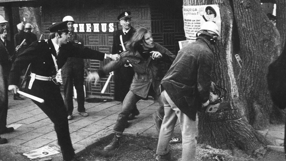 En demonstrant försöker stoppa sågande i almarna i Kungsträdgården.