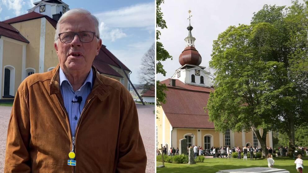 äldre man med glasögon, skjorta och mockajacka utanför en kyrka