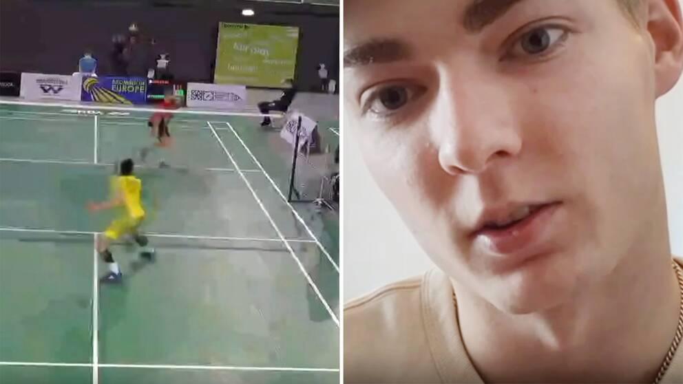 Starta klippet för att se badmintontalangen Ludvig Petre Olsson, 20, visa upp coronatillvaron inne på hotellrummet i Portugal.