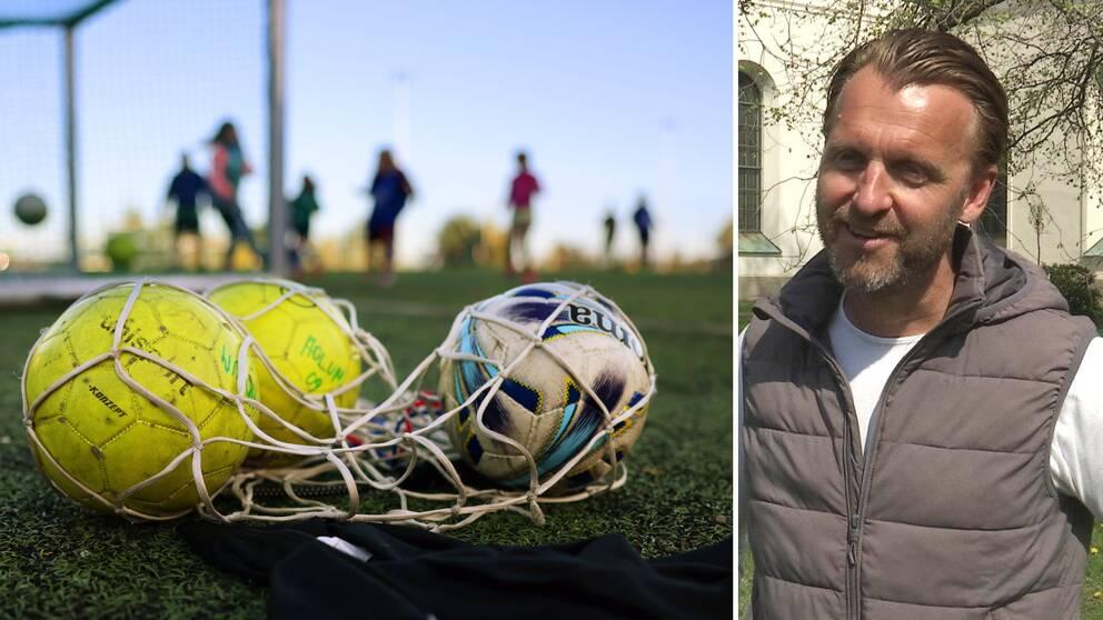 Två bilder, fotbollar i ett nät med spelare i bakgrunden. Till höger Daniel Svedberg.