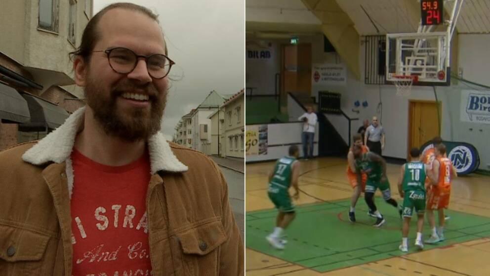 Delad bild - Kille med brun jacka och glasögon, basketmatch