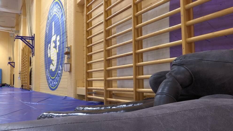 Brottningslokalen i Liljeholmshallen inifrån.