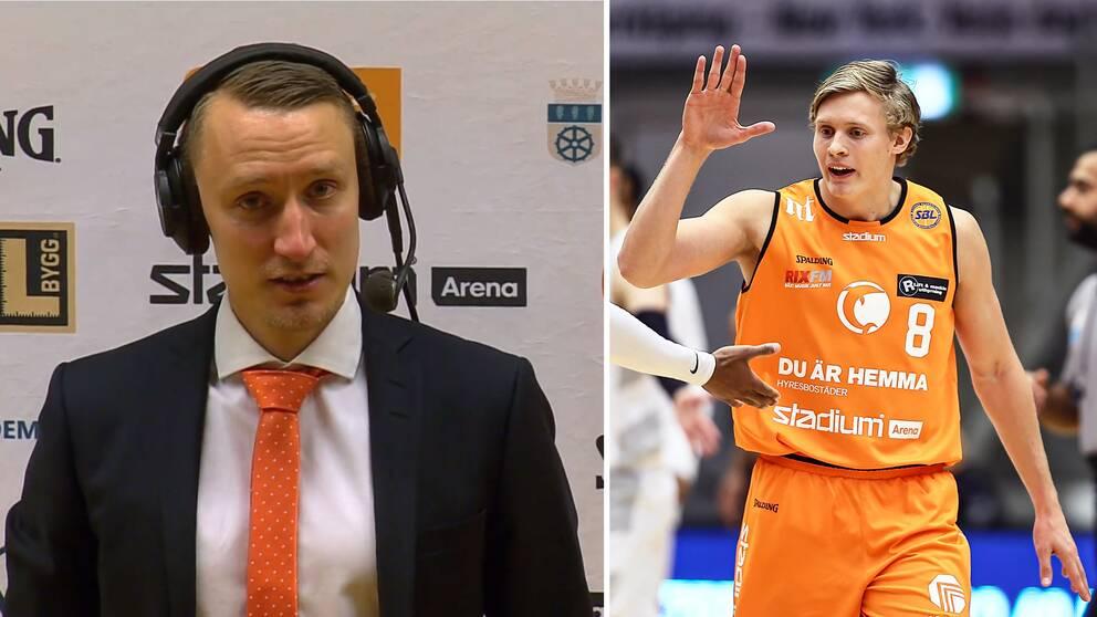 Norrköpings coach Mikko Riipinen och Felix Terins.