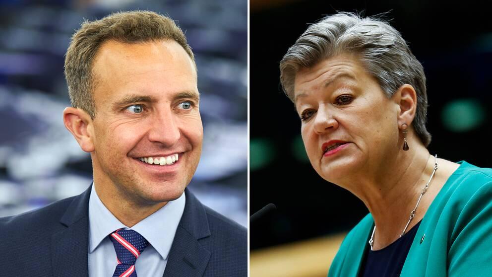 """""""Vi behöver få kontroll vid den yttre gränsen"""", säger EU-parlamentarikern Tomas Tobé (M) och ställer sig bakom den svenska EU-kommissionären Ylva Johanssons (t.h) EU-gemensamma migrationspakt."""