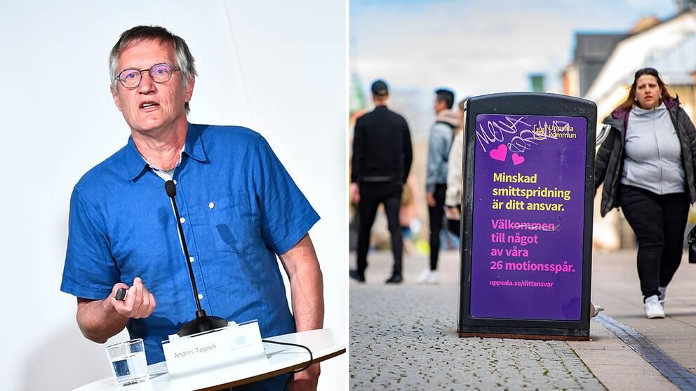 tatsepidemiolog Anders Tegnell / skylt om uppmaning till att minska smittspridningen på gågata i Uppsala.