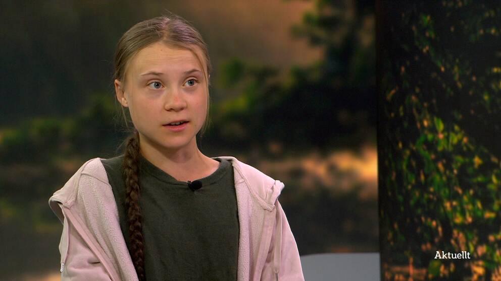 Klimataktivisten Greta Thunberg gästade Aktuellt under torsdagen och pratade om de globala klimatmålen.