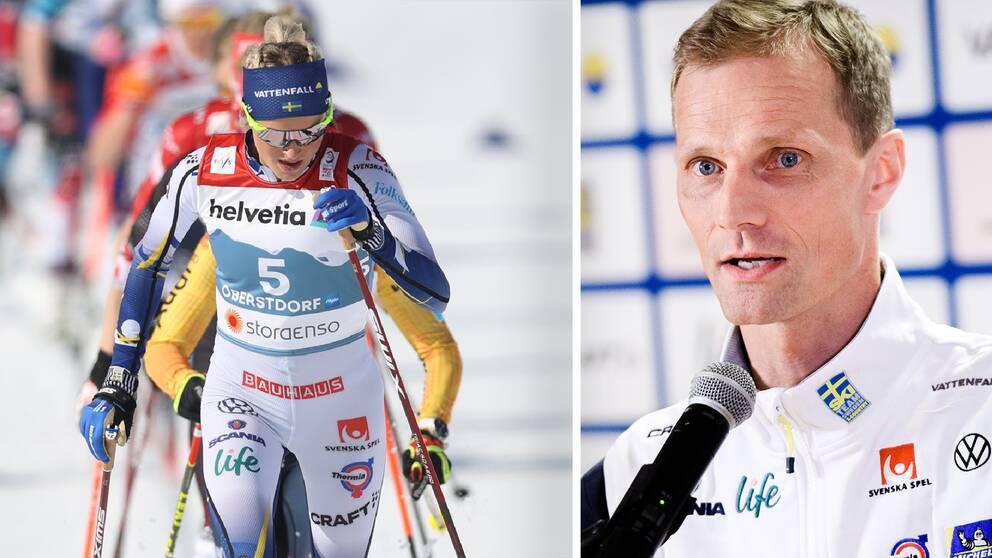 Skidchefen Daniel Fåhraeus (th) säger att de svenska damernas krav på jämställda banor inte är en prioriterad fråga i Fis.