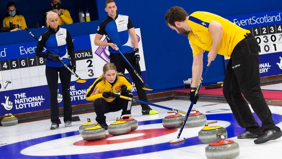 Almida de Val och Oskar Eriksson tidigare under VM.