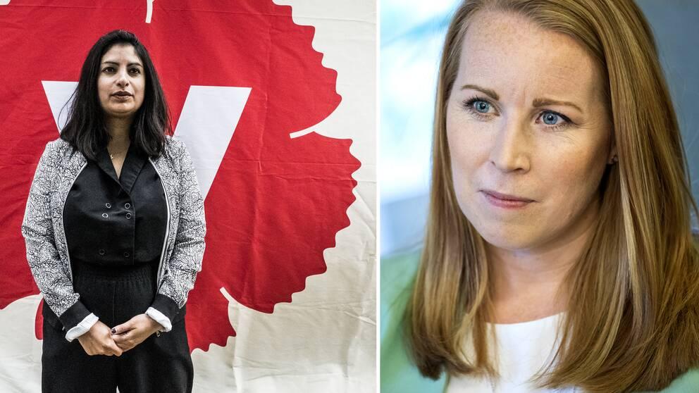 Vänsterpartiets partiledare Nooshi Dadgostar och Centerpartiets partiledare Annie Lööf.