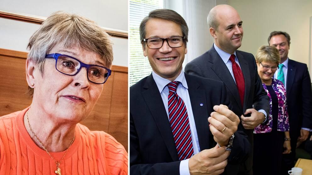 Maud Olofsson. Till höger en gruppbild med Göran Hägglund (KD), Fredrik Reinfeldt (M), Maud Olofsson (C) och Jan Björklund (FP) på Alliansens tid.