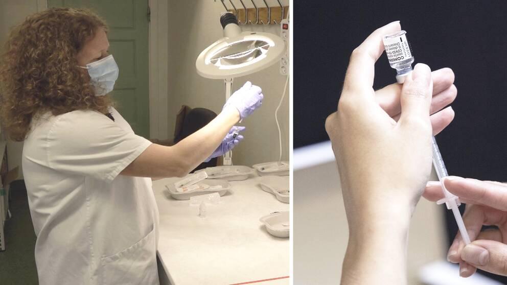 Till vänster en sjuksköterska som injicerar vaccin i en kanyl och till höger en bild på vaccin.