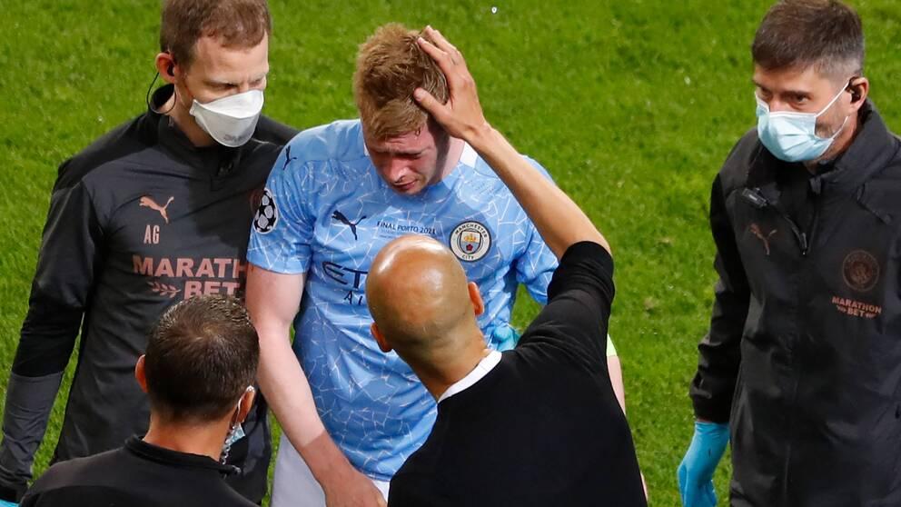 Kevin De Bruyne lämnade planen i tårar under gårdagens CL-final mot Chelsea.