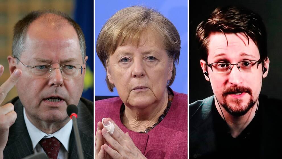 Tyske toppolitikern Peer Steinbrück, förbundskansler Angela Merkel och visselblåsaren Edward Snowden.