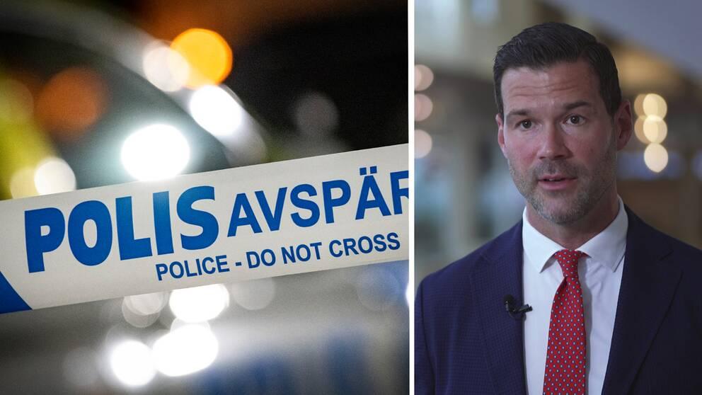 Johan Forssell, Moderaternas rättspolitiska talesperson blir intervjuad.