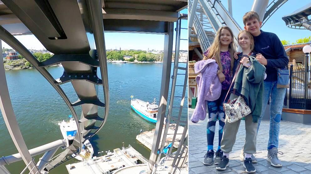 Det är två bilder. Den vänstra bilden är en stillbild från när någon åker i en bergochdalbana i luften, där rälsen går ner åt och i bakgrunden ser man vatten och två båtar. Den högra är en bild på tre av besökarna som ser glada ut.
