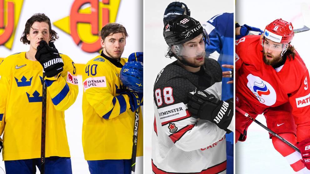 Kanadas Andrew Mangiapane (mitten) och ryssarnas Ivan Provorov (höger) blev förvånade över Tre Kronors VM-fiasko.