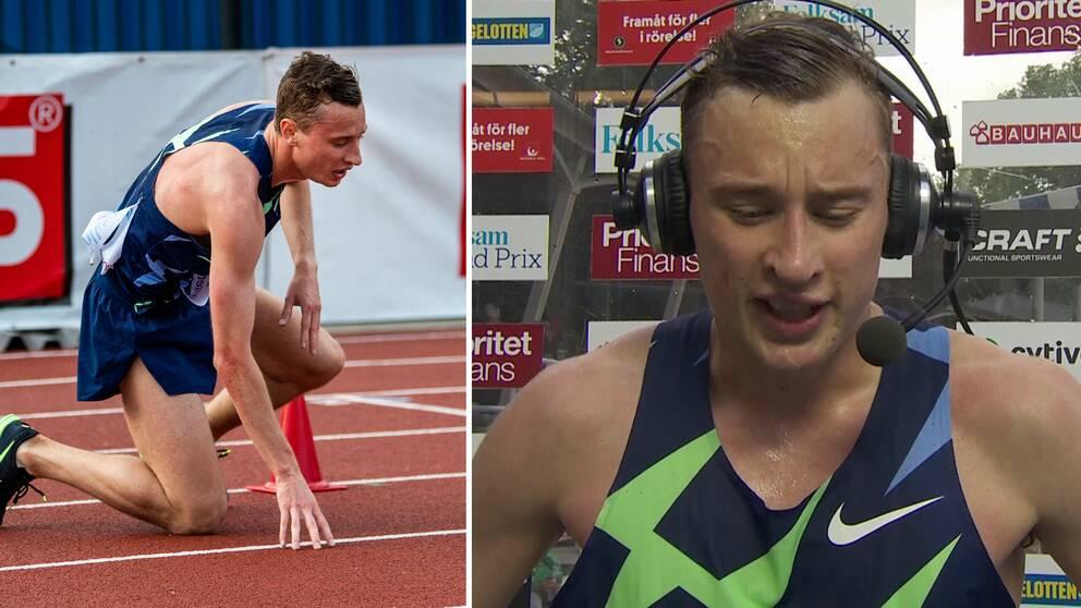 Kalle Berglund föll på 5000 meter.