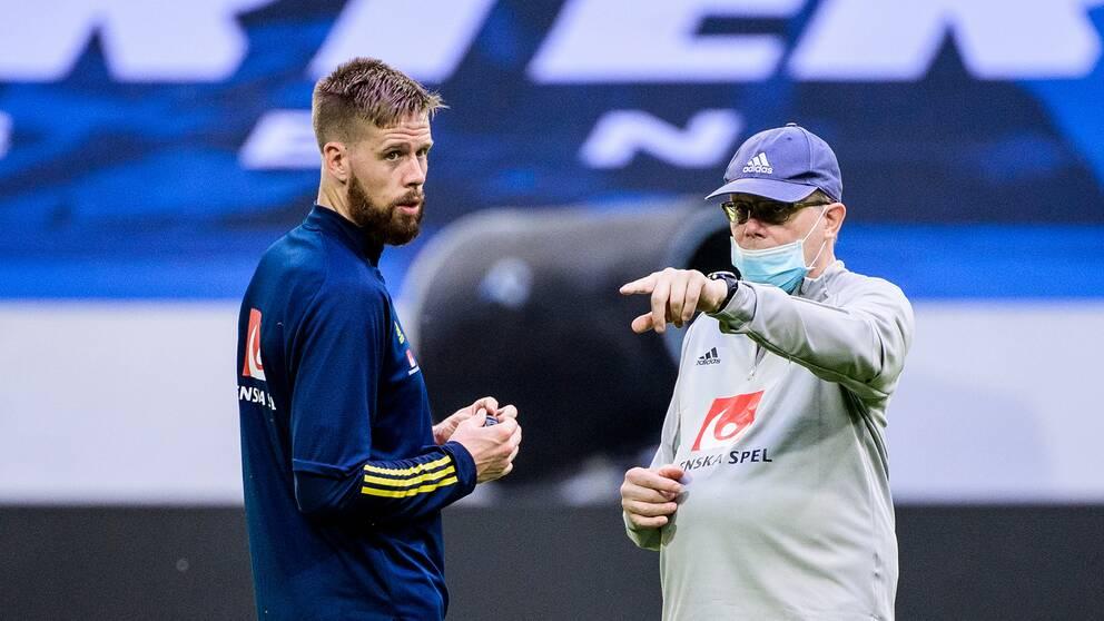 Pontus Jansson och förbundskapten Janne Andersson.