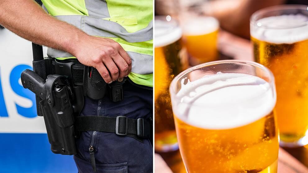 Patrullerande polis/ öl på uteservering.