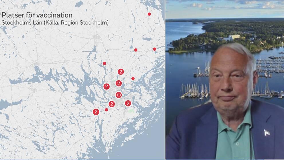 Karta över Stockholms län samt Harry Bouveng.