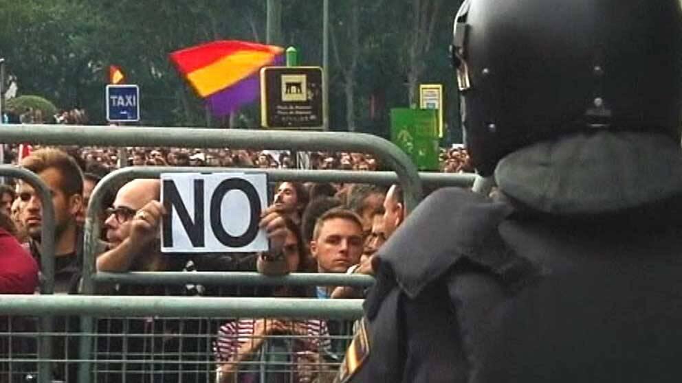Demonstrantioner i Madrid mot spanska nedskärningar.