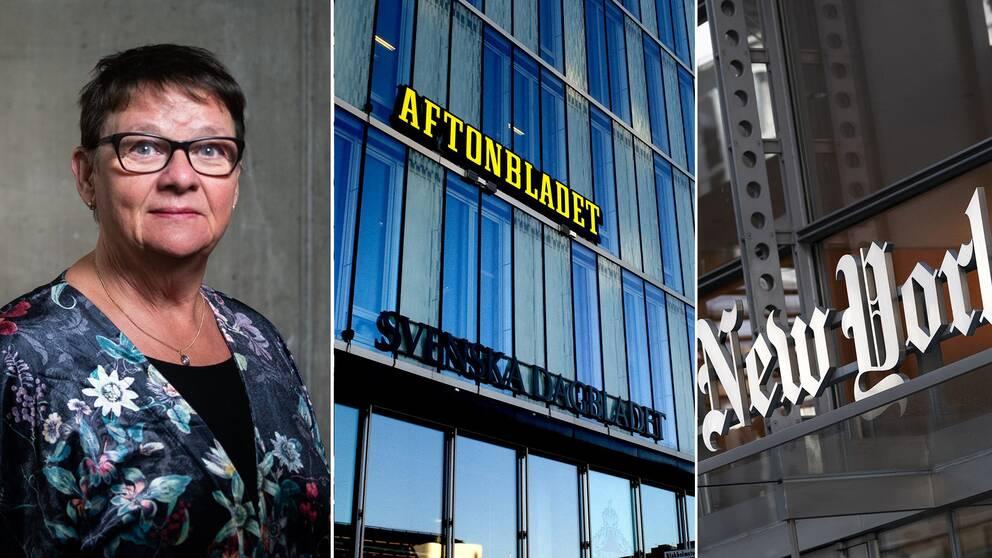 Anne-Marie Eklund Löwinder, säkerhetschef på Internetstiftelsen/ Schibstedhusets fasad/ New York-times-skylt.