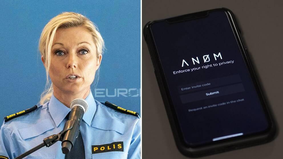 Svenska polisens underrättelsechef Linda Staaf/ Mobil med An0m.