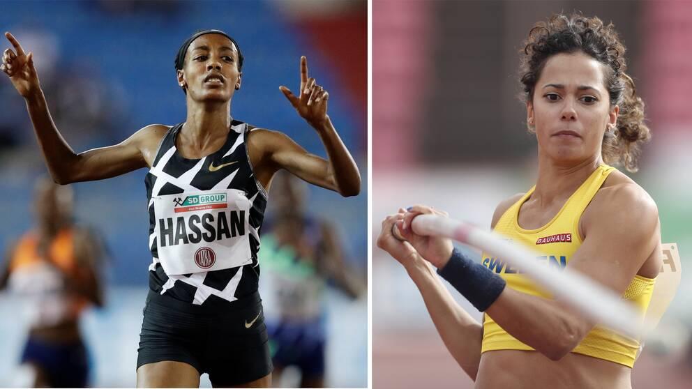 Jacob Hård tror på storverk av Sifan Hassan (till vänster) och följer med spänning den numera tränarlösa Angelica Bengtsson (till höger) när Diamond League avgörs i Rom/Florens på torsdag.