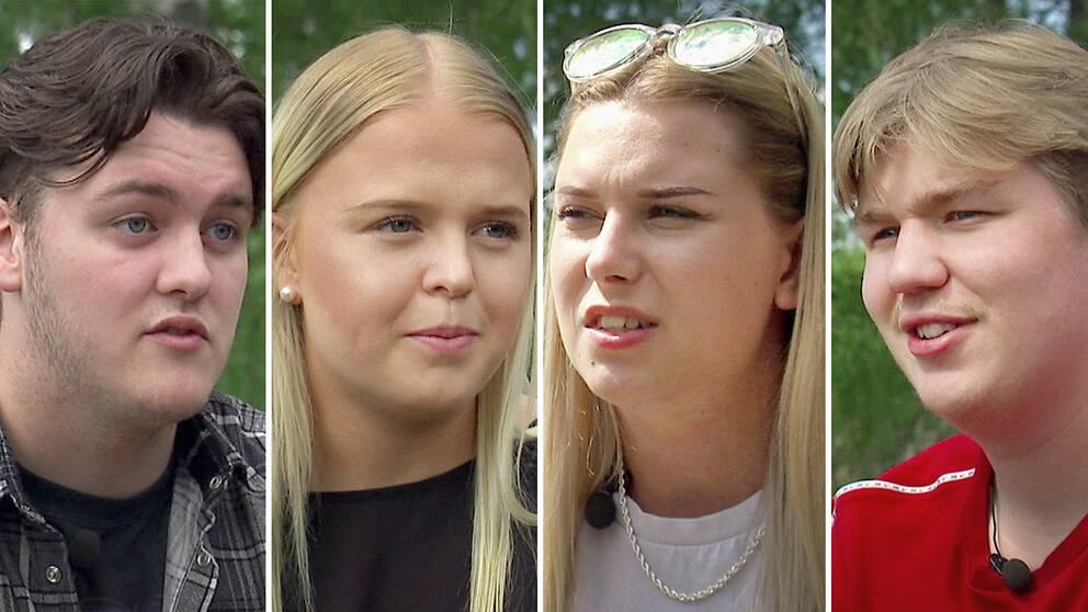Starta klippet för att möta fyra av Brobyeleverna i Sunne som nu tar studenten – hör vad (fr. v.) Johan, Märta, Elin och Colin tänker om den coronapräglade gymnasietiden.