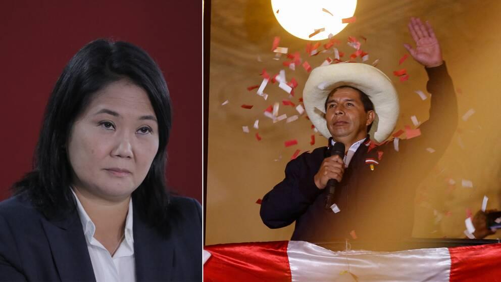 Presidentkandidaten Keiko Fujimori (t.v) kräver att röster ogiltigförklaras. Samtidigt utropar sig Pedro Castillo (t.h) som vinnare i valet.