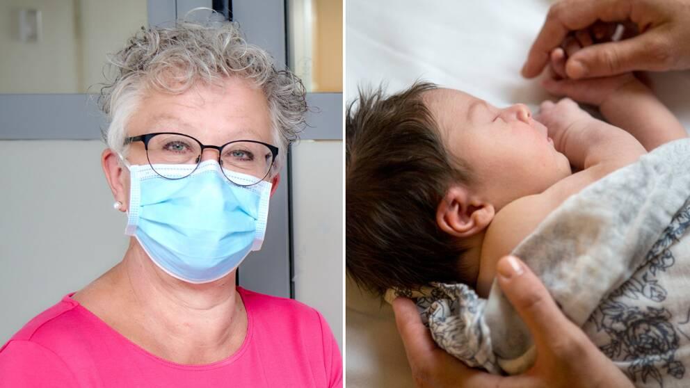 Kvinna i munskydd och kort grått hår. Brevid en nyfödd bebis med en filt och mörkt hår.