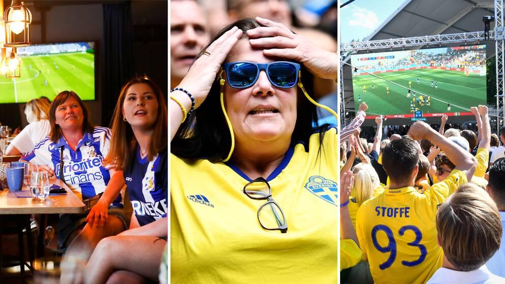 Fotbollsfans på sportbarer som tittar på matcher på tv och storbildsskärm.