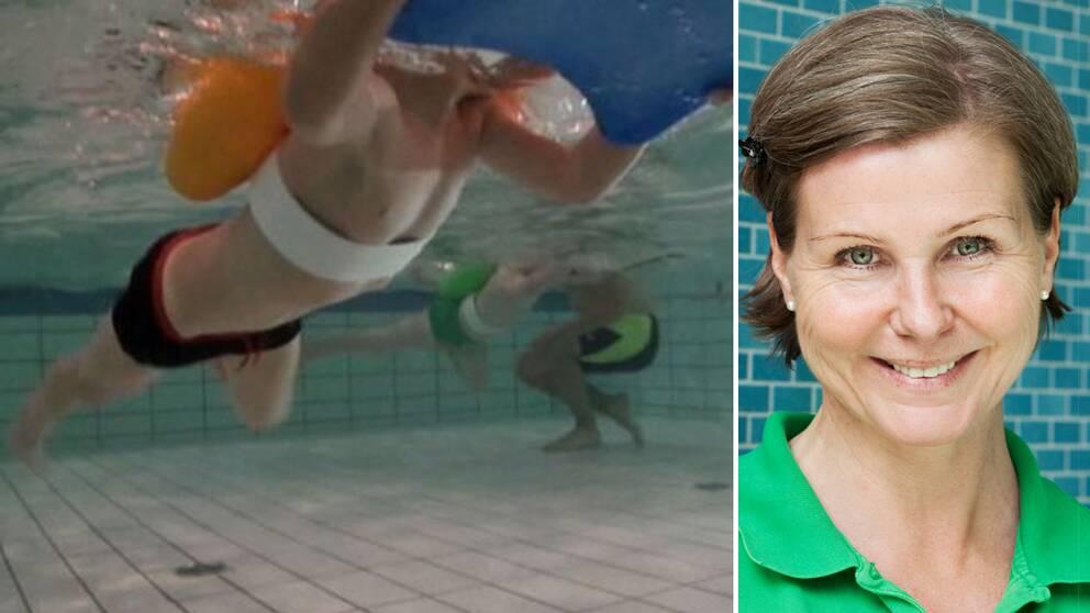 Simskola, till höger badmästaren Elisabeth Strömberg.