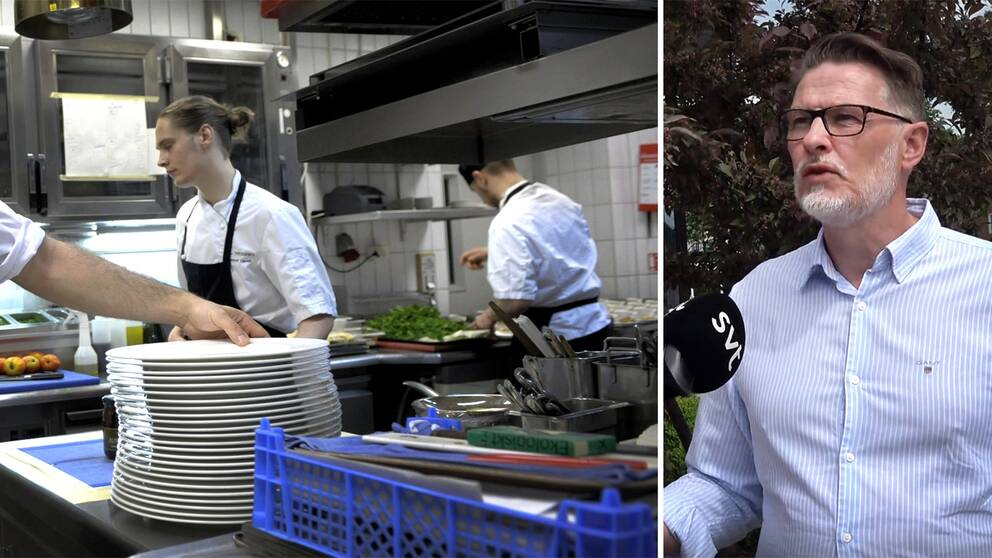 Starta klippet för att höra Niclas Gustafsson, vid Arbetsförmedlingen i Halmstad (till höger), förklarar mer om hur hårt pandemin slagit mot just restaurangbranschen.