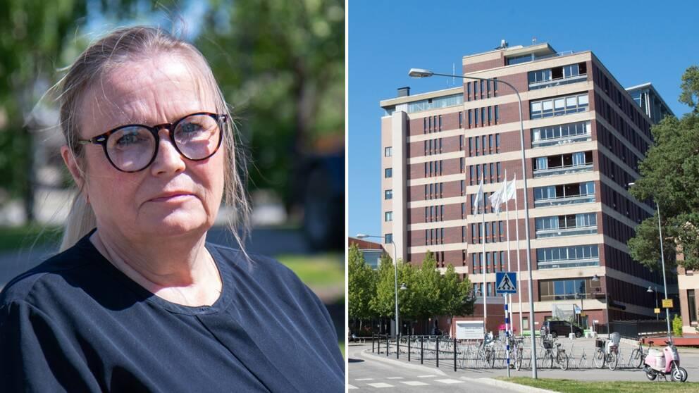 Närbild på biträdande hälso- och sjukvårdsdirektör Susanna Björklund utanför regionen