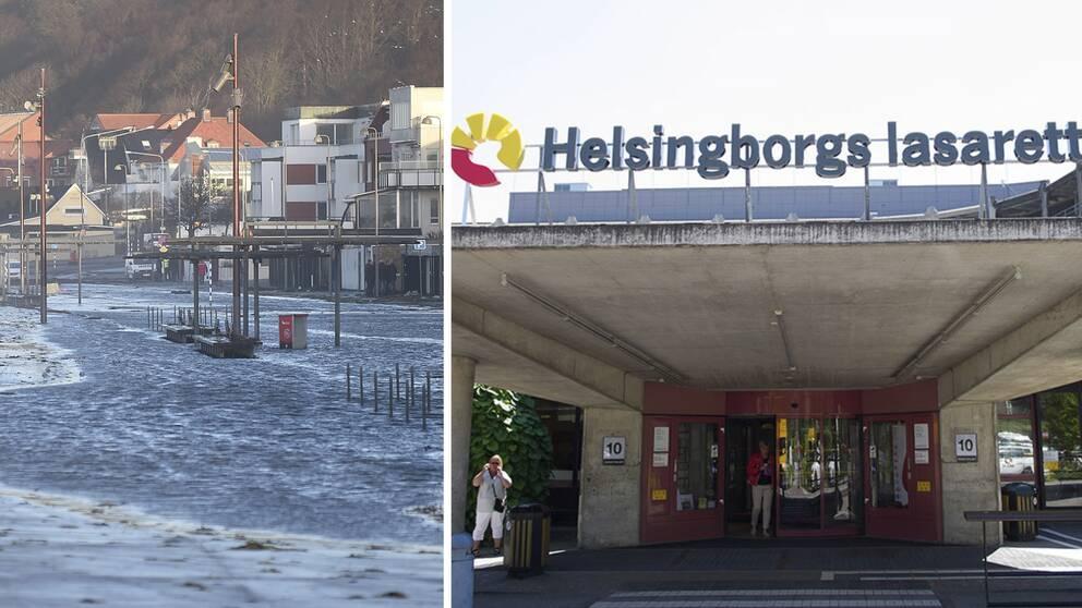 Fotomontage av bilder på översvämning och huvudingången på lasarettet i Helsingborg
