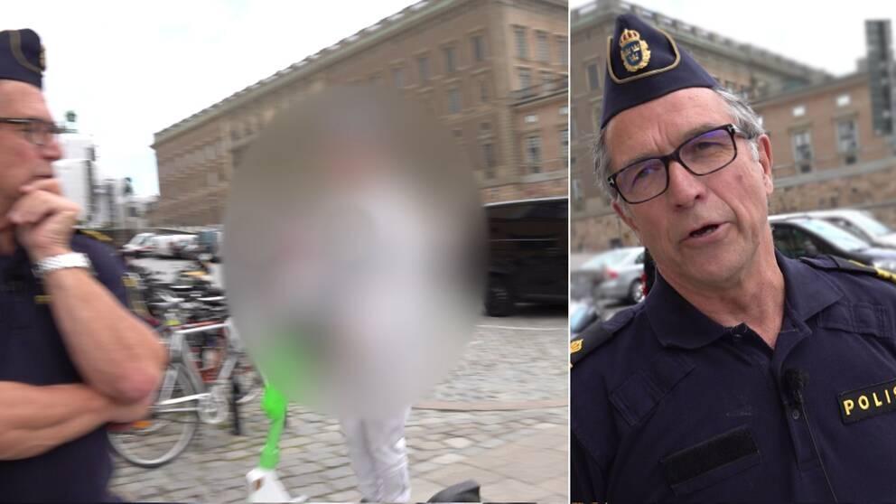 Den högra bilden visar en halvbild på polisen Hans Nilsson. Den vänstra bilden visar en person som är anonymiserad som kör elsparkcykeln på gatan förbi polisen.