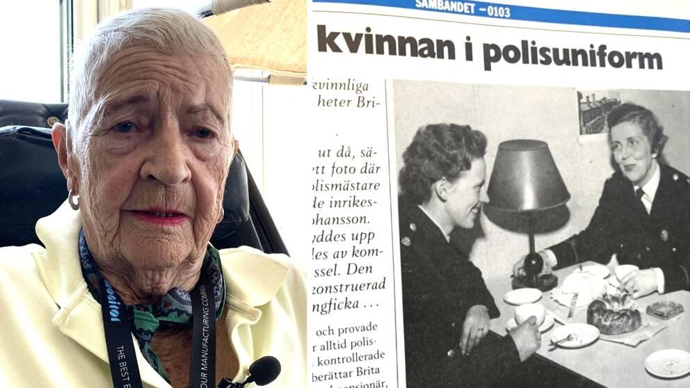 """nära bild på gammal kvinna med korthår, läppstift, blus. Samt gammalt svartvitt tidningsurklipp med del av rubrik: """"kvinnan i polisuniform"""" och bild på två kvinnliga poliser"""