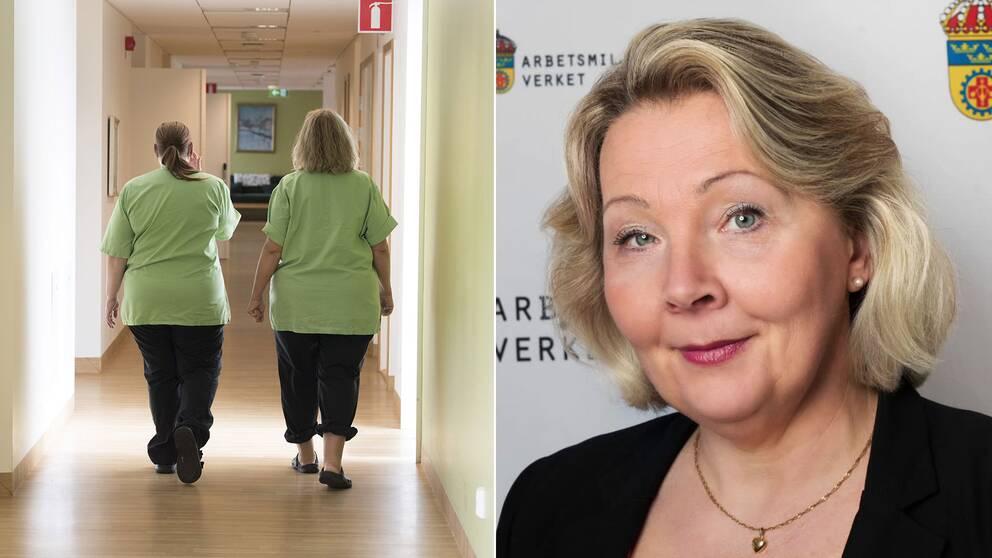 Förra våren betonade Arbetsmiljöverkets ledning att man slöt upp bakom Folkhälsomyndighetens rekommendationer – och inte hade någon allvarlig kritik. Hör svaren som Arbetsmiljöverkets högsta chef gav till SVT:s reporter.