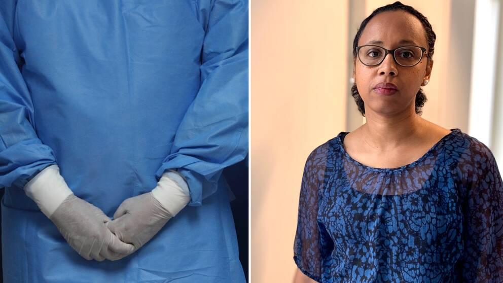 Två bilder i kollage, på vänstra bilden syns en anonyma vårdanställd i skyddskläder och på högra en kvinna - Sarah Hamed