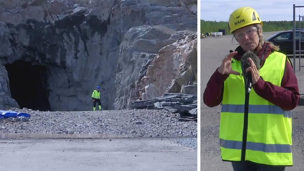 nedfarten till lagret – ett stort hål i bergvägg, samt bild på reportern i reflexväst och hjälm